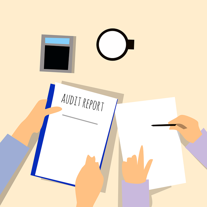 illustration of people looking at an audit report